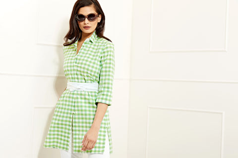 Sophia green cotton gingham shirt tunic