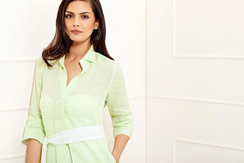 Sophia apple green linen short shirtdress