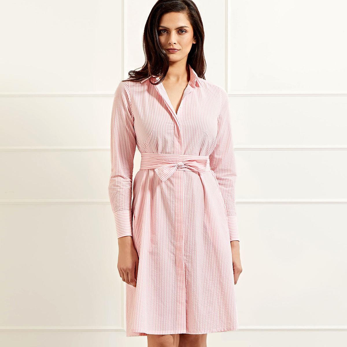 Victoria cotton seersucker pink stripe shirtdress