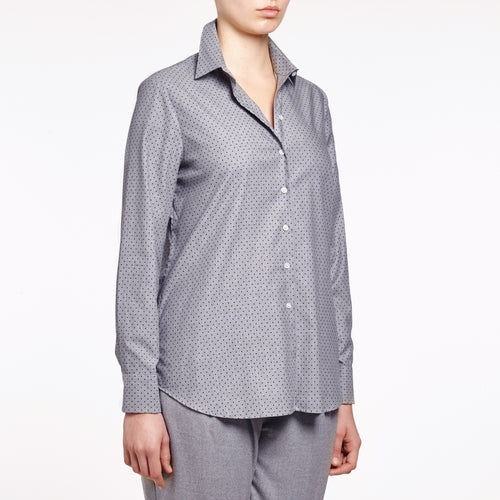 Valentina grey with navy pin dot cotton shirt