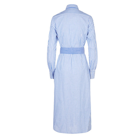 Vanessa Cotton Linen Blue Stripe Shirtdress