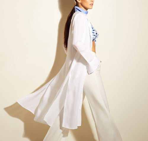 Vanessa Long Shirt Dress White Linen