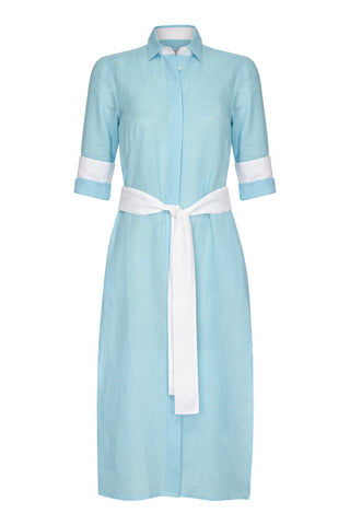 Vanessa Long Linen Shirt Dress Turquoise