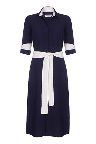 Vanessa Long Shirt Dress Navy Cotton Seersucker