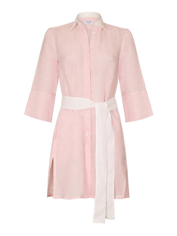 Sophia pink linen tunic with white belt