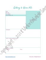 Getting to Know Me Cheat Sheet | Digital Download | Unbreakable Sara