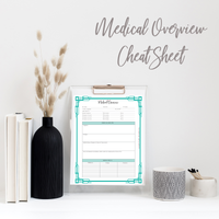 Medical Overview - Cheat Sheet | Digital Download | Unbreakable Sara