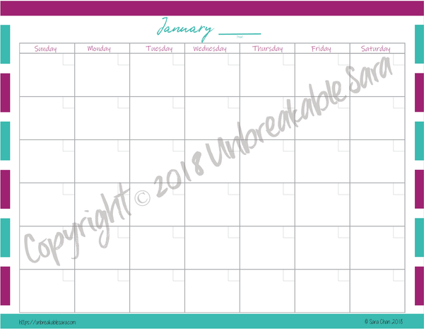 Blank Calendar | Digital Download | Unbreakable Sara