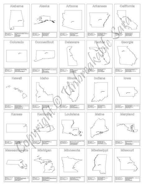 US States Coloring Book | Digital Download | Unbreakable Sara