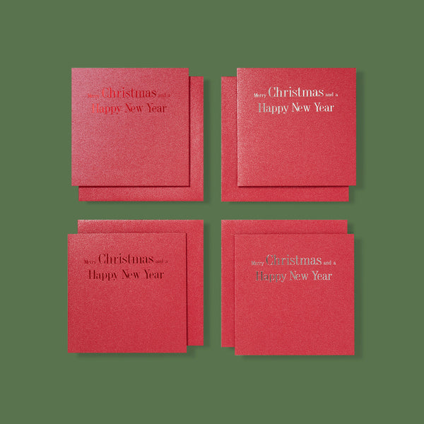 Red Sparkled Hot-Foiled Luxury Christmas Cards - Story of Elegance
