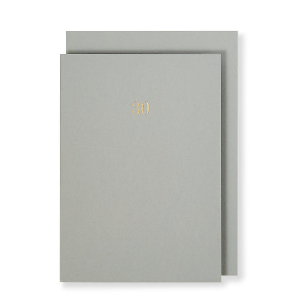 30th Birthday Milestone Anniversary Card, Grey
