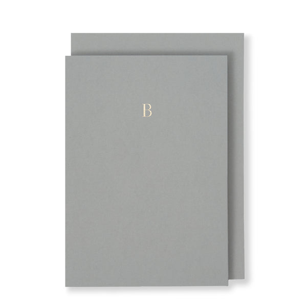 B Greeting Card in Grey, Front | Story of Elegance