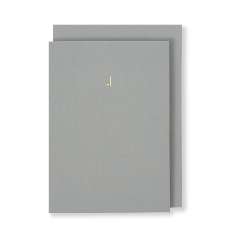 J Greeting Card in Grey, Front | Story of Elegance