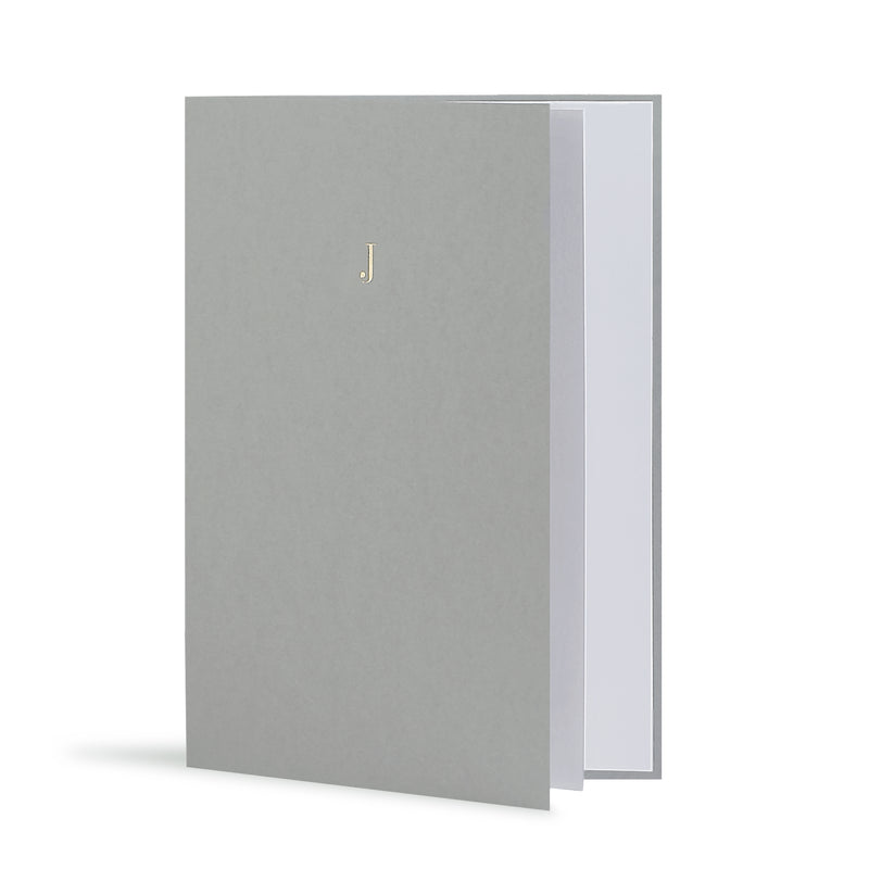 J Greeting Card in Grey, Side | Story of Elegance