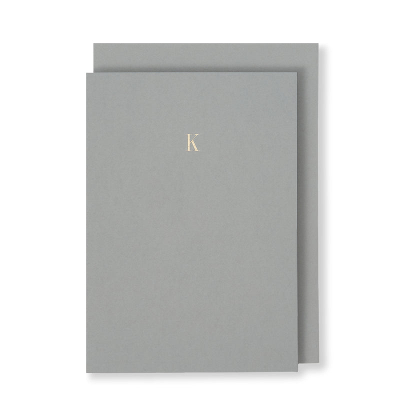 K Greeting Card in Grey, Front | Story of Elegance