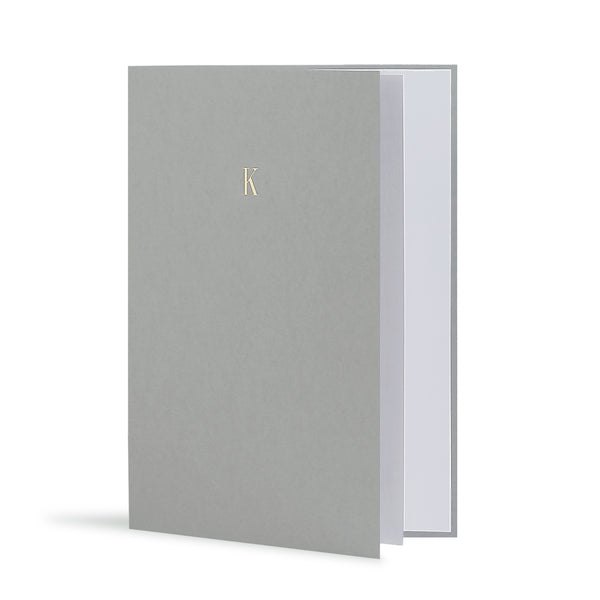K Greeting Card in Grey, Side | Story of Elegance