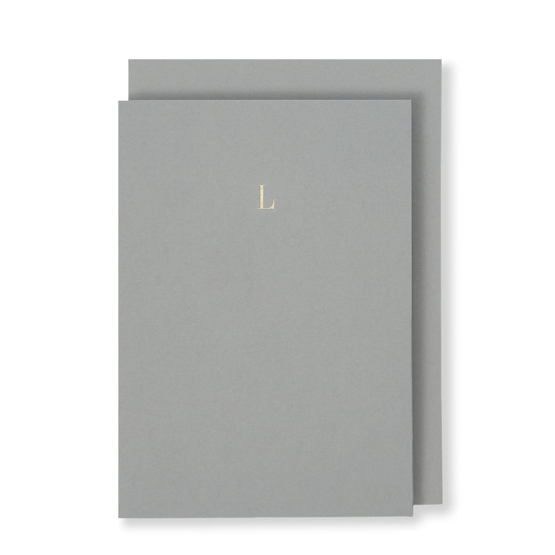 L Greeting Card in Grey, Front | Story of Elegance