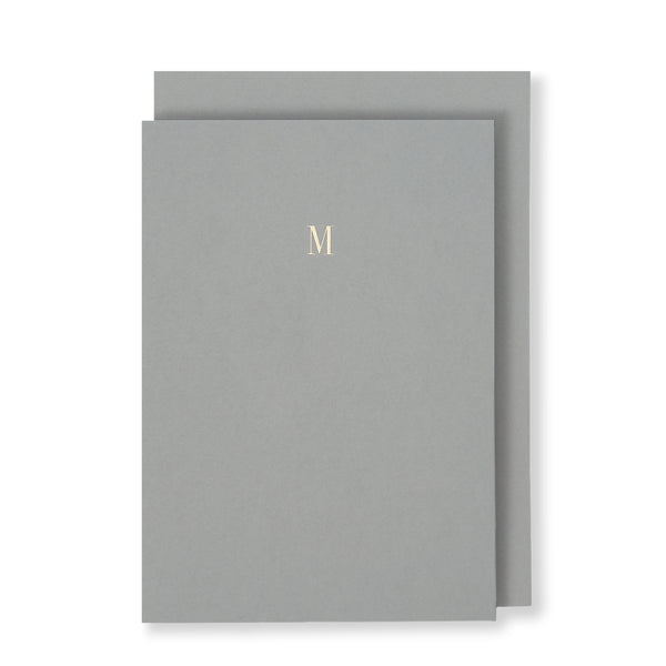 M Greeting Card in Grey, Front | Story of Elegance