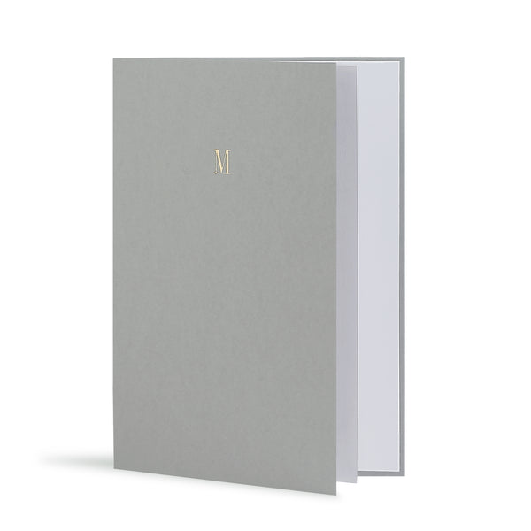 M Greeting Card in Grey, Side | Story of Elegance