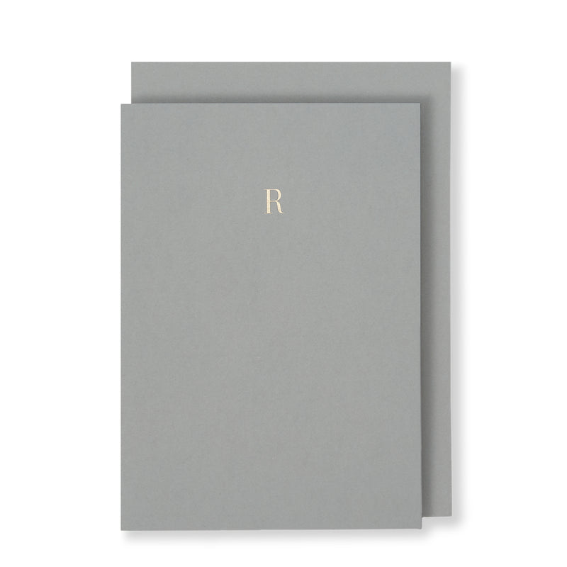 R Greeting Card in Grey, Front | Story of Elegance
