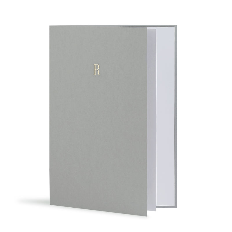 R Greeting Card in Grey, Side | Story of Elegance
