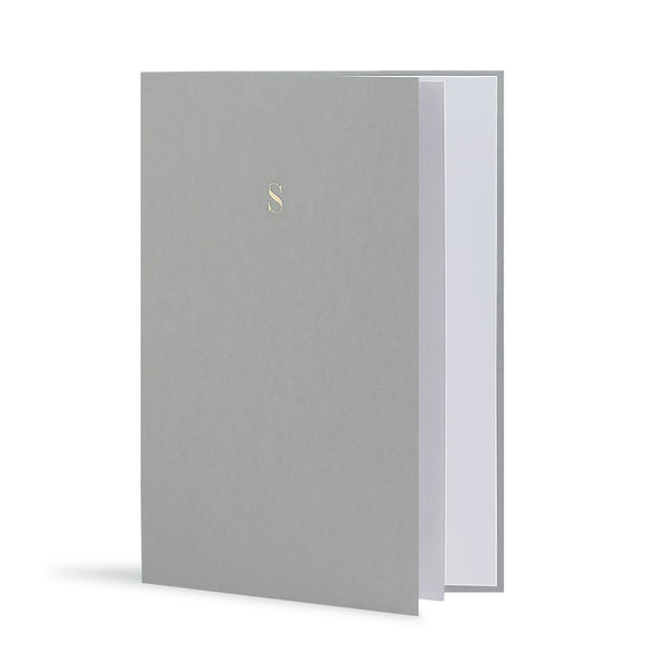 S Greeting Card in Grey, Side | Story of Elegance
