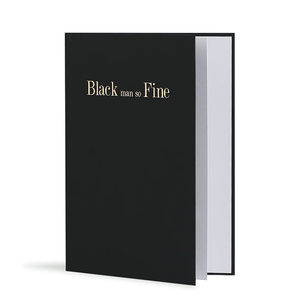 Black Man So Fine Greeting Card in Black, Side