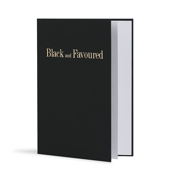 Black and Favoured Greeting Card in Black, Side