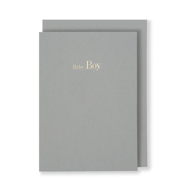 Baby Boy Greeting Card in Grey, Front