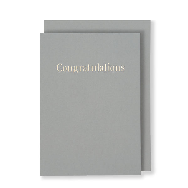 Congratulations Greeting Card in Grey, Front