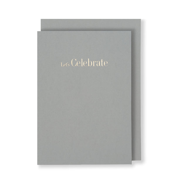 Let's Celebrate Greeting Card in Grey, Front