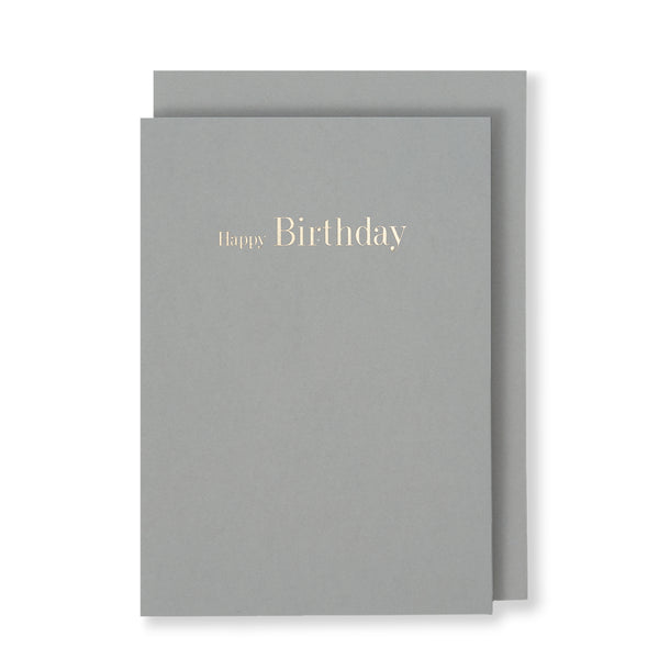 Happy Birthday Greeting Card in Grey, Front