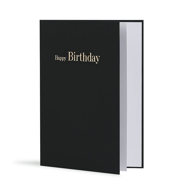 Happy Birthday Greeting Card in Black, Side