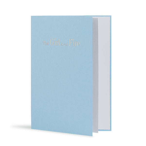 That Girl Is On Fire Greeting Card in Pastel Blue, Side