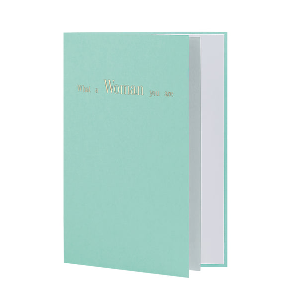 What A Woman You Are Greeting Card in Pastel Green, Side