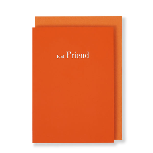 Best Friend Greeting Card in Orange, Front