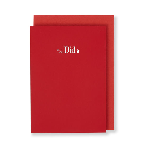 You Did It Greeting Card in Bright Red, Front