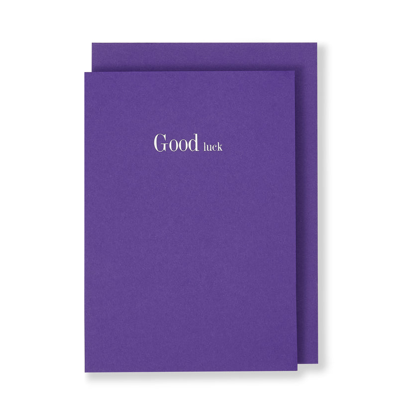 Good Luck Greeting Card in Warm Purple, Front
