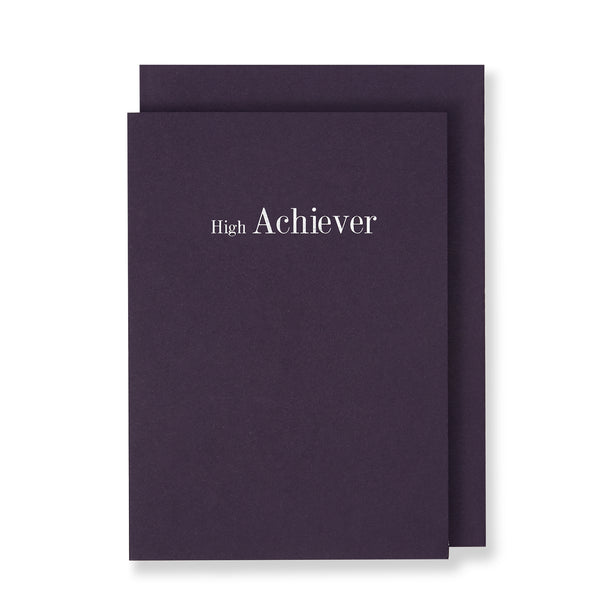 High Achiever Greeting Card in Deep Purple, Front