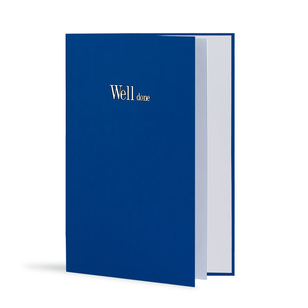 Well Done Greeting Card in Royal Blue, Side