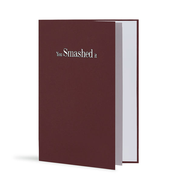 You Smashed It Greeting Card in Burgundy, Side