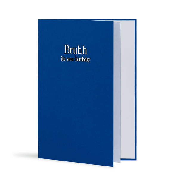 Bruhh It's Your Birthday Greeting Card in Royal Blue, Side