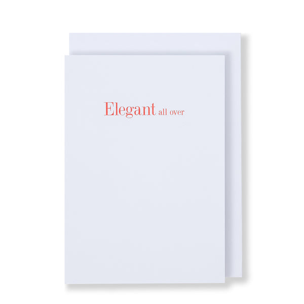 Elegant All Over Greeting Card in White, Front