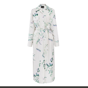Silk Twill Print Shirt Dress