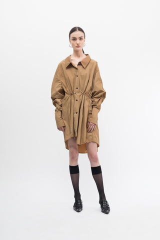 Taffeta Beige Drawstring Shirt Dress