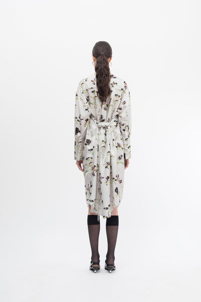 Gather Silk Print Shirt Dress