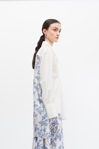 Porcelain Print Silk Gather Back Cotton Shirt