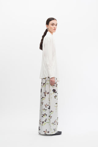 Silk Print Wide Leg Pants