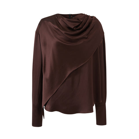 Draped Neck Layer Blouse-Choco Silk