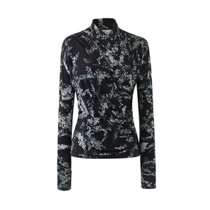 Crossover Jersey Top-Black Grey Flower Print